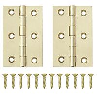 Brass-plated Metal Butt Door hinge (L)65mm, Pack of 2