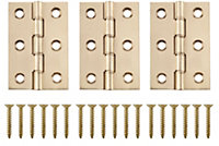 Brass effect Metal Butt hinge, Pack of 3