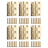 Polished Brass-plated Metal Butt Door hinge (L)75mm, Pack of 6