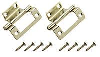 Brass-plated Metal Butt Door hinge (L)50mm, Pack of 2