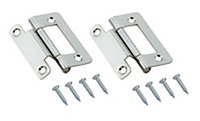 Zinc effect Metal Cranked Flush hinge, Pack of 2