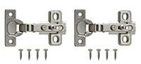 Nickel effect Metal Unsprung Concealed hinge, Pack of 2