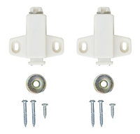 White Metal & plastic Magnetic Cabinet catch, Pack of 2