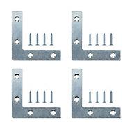 B&Q Steel Corner plate, Pack of 4