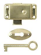 B&Q Brass-plated Steel Wardrobe lock (L)51mm