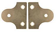 B&Q Brass effect Carbon steel Mirror flush mount (L)50mm, Pack of 2