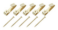 B&Q Brass effect Picture hook Pack of 25