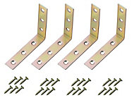 Yellow Zinc-plated Mild steel Corner bracket (L)75mm, Pack of 4