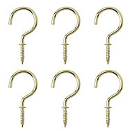 Brass-plated Large Cup hook (L)46.5mm, Pack of 6