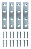 B&Q Zinc effect Steel Mending plate (L)75mm, Pack of 4