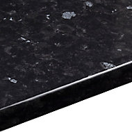 38mm Ebony granite Gloss Black Stone effect Laminate Round edge Kitchen Worktop, (L)3000mm