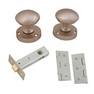 Satin Nickel effect Internal Round Latch Door knob, Set