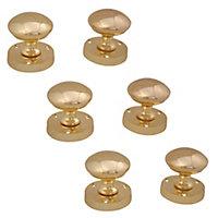 Brass effect Zamac Round Internal Door knob (Dia)54mm, Pack of 3