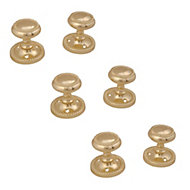 Polished Brass effect Internal Round Latch Door knob, Set of 3