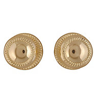 Polished Brass effect Zamac Round Door knob (Dia)49mm, Pair