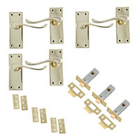 Polished Brass effect Internal Scroll Latch Door handle, Set of 3