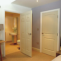 6 panel Primed White LH & RH Internal Door, (H)1981mm (W)686mm