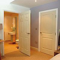 6 Panel Primed White Smooth Internal Door, (H)1981mm (W)838mm