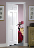 6 panel Primed White LH & RH Internal Door, (H)1981mm (W)610mm