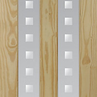 Vertical 2 panel Patterned Frosted Glazed Clear pine LH & RH Internal Door, (H)1981mm (W)762mm