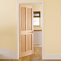 4 panel Oak veneer LH & RH Internal Door, (H)1981mm (W)762mm