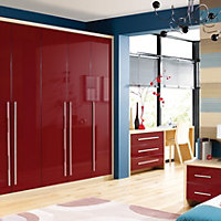 Cooke & Lewis Multicolour Designer Burgundy Gloss Wardrobe door (H)2028mm (W)446mm