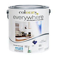 Colours Pure brilliant white Matt Emulsion paint 2.5L