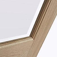 4 panel Etched Frosted Glazed Oak veneer LH & RH Internal Door, (H)1981mm (W)762mm
