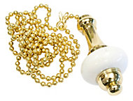 B&Q Brass effect Ceramic Light pull