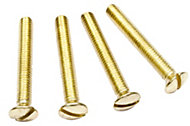 B&Q Brass effect Metal Interior socket & switch screw (Dia)3mm (L)25mm, Pack of 4