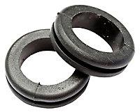 B&Q Rubber Open Black 25mm Grommet, Pack of 10