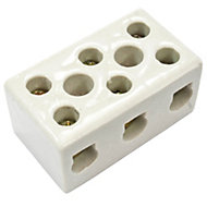 B&Q White 5A 3-Way Porcelain block