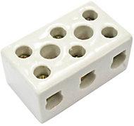 B&Q White 30A 3-Way Porcelain block