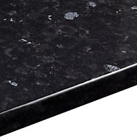 28mm Ebony granite Gloss Black Stone effect Laminate Round edge Bathroom Worktop, (L)2000mm