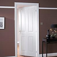 4 panel Primed White LH & RH Internal Door, (H)1981mm (W)762mm