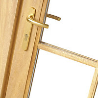 Clear Oak veneer External French Door set, (H)2105mm (W)1200mm