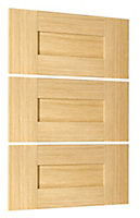 Cooke & Lewis Maple style shaker Authentic Maple effect 3 drawer combi front pack (H)219mm (W)446mm
