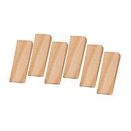 Pine effect Wood Door wedge, Pack of 6