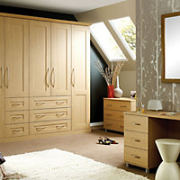Oak effect Double combi wardrobe carcass (H)2112mm (W)900mm