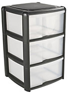 Black 20L Plastic 3 drawer Tower unit