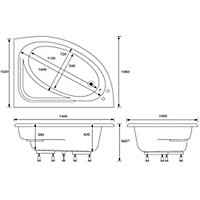 Cooke & Lewis Strand Acrylic Right-handed Corner Bath (L)1495mm (W)1060mm