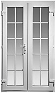 Georgian 10 Lite Glazed White uPVC External French Door set, (H)2055mm (W)1190mm
