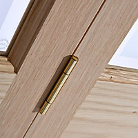 4 panel 2 Lite Frosted Glazed Oak veneer Internal Bi-fold Door set, (H)1950mm (W)753mm