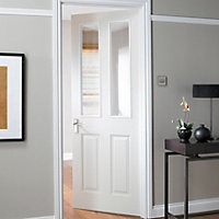 4 panel Glazed Primed White LH & RH Internal Door, (H)1981mm (W)762mm