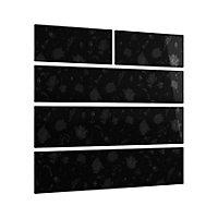 Cooke & Lewis Designer black floral Heritage Black Gloss 2 over 3 drawer chest front pack (W)896mm