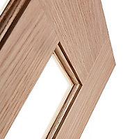 Vertical 3 panel Clear Glazed Oak veneer LH & RH Internal Door, (H)1981mm (W)762mm