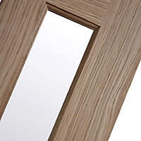 Vertical 3 panel Frosted Glazed Oak veneer LH & RH Internal Door, (H)1981mm (W)686mm