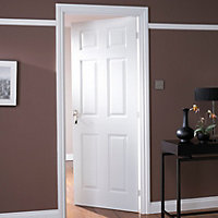 6 panel Primed White Woodgrain effect LH & RH Internal Door, (H)2040mm (W)626mm