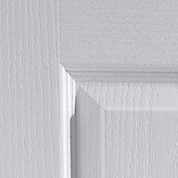 4 panel Primed White Woodgrain effect LH & RH Internal Door, (H)2040mm (W)926mm