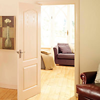 2 panel Arched Primed White Woodgrain effect LH & RH Internal Door, (H)2040mm (W)726mm